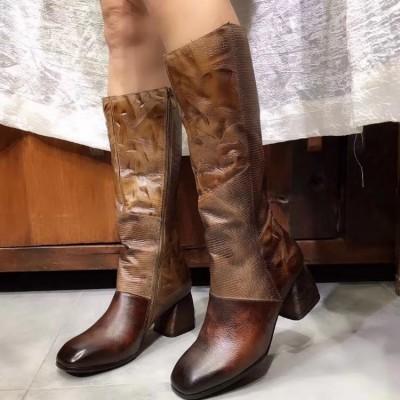 2019秋冬英伦高跟棕色加绒不过膝长靴女粗跟真皮高筒骑士靴