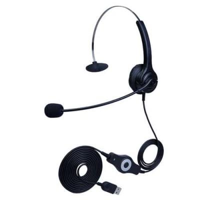 降噪耳机hoRme合镁U400单耳客服耳麦USB