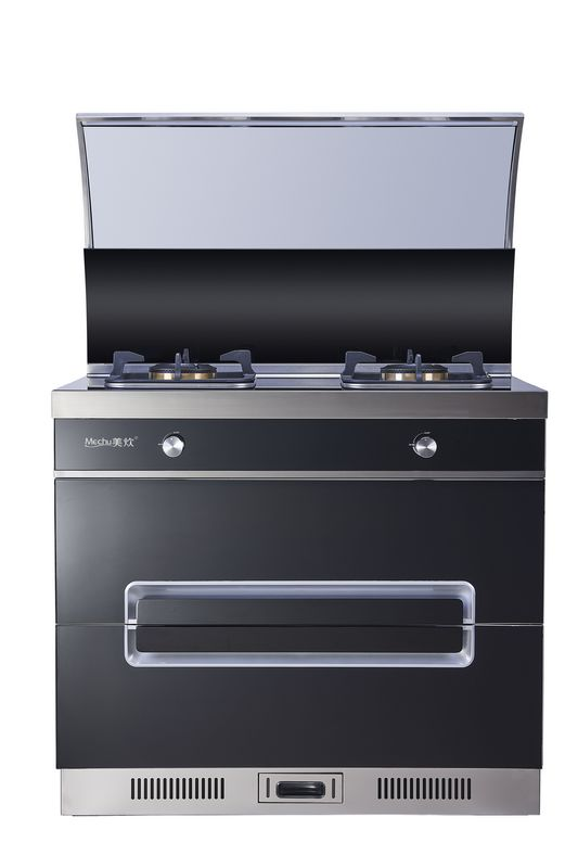 美炊集成灶侧吸下排式油烟机燃气灶消毒柜一体套装